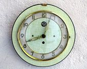 French 1950-60s Atomic Age SMI Apple GREEN Formica Wall Clock - Cool Circle Shape - Formica Wall Clock - Great Working Condition