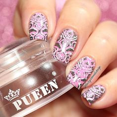 Romantic Design I use following . Clear Jelly stamper and Fancy Lover 02 stamping plate by @pueencosmetics  #pueencosmetics ✨ Base color Glory by @dancelegendofficial  . Stamping polish white 03 and pink 11 by #dancelegend . Mitty Brush @mitty_burns ✨(with my code ✨bqueen10✨ you can get 10% off in your orders at www.mitty.com.au) . Happy Saturday