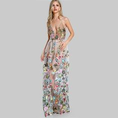 Cheap maxi dress, Buy Quality a dress directly from China dress a Suppliers: SHEIN Double Strap Embroidered Mesh Overlay Dress Multicolor Spaghetti Strap Deep V Neck Sexy A Line Maxi Dress Cheap Maxi Dresses, Maxi Gowns, Strapless Dress, Gown Dress, Nude Dress, Cheap Dress, Lace Dresses, Club Dresses, Formal Dresses