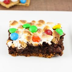 M&M's® Smores Brownies are the perfect summer dessert. They have a graham cracker crust and are topped with toasted marshmallows, graham crackers and M&M's