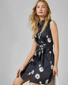ERTTADaisy print mini cotton shirt dress#TedToToe Pleated Midi Dress, Striped Midi Dress, Wrap Dress Floral, Cotton Shirt Dress, Casual Dresses, Blue Dresses, Daisy, Ted Baker, Dark Blue