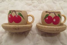 2 Vintage Curtain Pins Wooden painted teacups with by rarefinds4u