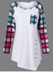 Plaid Raglan Sleeve Plus Size Tee in White | Sammydress.com Mobile
