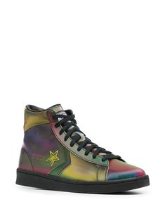 Shop black & green Converse Pro Leather Hi iridescent-effect sneakers with Express Delivery - Farfetch Converse Pro Leather, Green Converse, Iridescent, Basket, Delivery, Lace Up, Flats, Sneakers, Men