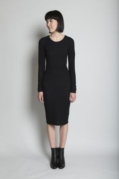 I like the idea of a layering dress. This is heavyweight ribbed, fully lined. Slips on.