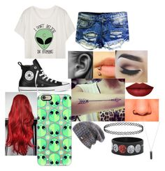 """""""Aliens..."""" by chloe-775 ❤ liked on Polyvore featuring Converse, Casetify, Spacecraft and Karen Kane"""