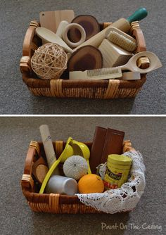 "Treasure Basket Ideas - an all wooden object treasure box. Notice the basket itself is also made of natural materials. Children need to be weaned off of all those plastic ""educational"" toys that play themselves. Natural, simple, things that allow that child to use their imagination and come up with dozens of uses for them. Not toys that are played only one way, and limit imagination."