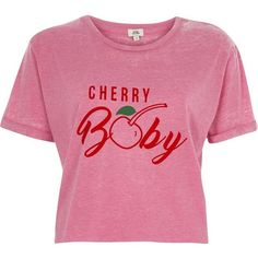 River Island Pink burnout 'cherry baby' cropped T-shirt ($40) ❤ liked on Polyvore featuring tops, t-shirts, pink, print t-shirts / tanks, t-shirts / vests and women