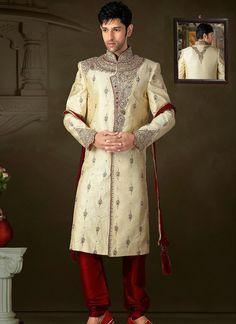 Groom Sherwani | Wedding Wear Sherwani Suits | Traditional Sherwani Suits   Buy Grooms Sherwani online @ http://www.suratwholesaleshop.com/9505-Stylish-Brocade-Lemon-Dhoti-Sherwani?view=catalog  #groomsherwani #sherwani #menswear #traditionalsuits #weddingsherwani #sherwanionline #suratwholesaler #wholesalesuppier