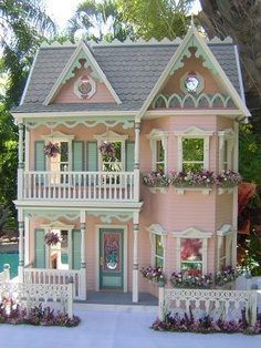 Dollhouses by Robin Carey The Princess Anne //I love this so much! I always wanted a really cool dollhouse as a little girl! Dollhouses by Robin Carey The Princess Anne //I love this so much! I always wanted a really cool dollhouse as a little girl! Victorian Dolls, Victorian Dollhouse, Dollhouse Dolls, Dollhouse Miniatures, Pink Dollhouse, Modern Dollhouse, Dollhouse Windows, Dollhouse Ideas, Pink Houses