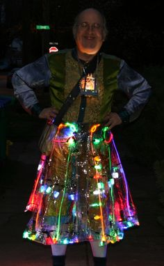 The epic light artist strikes again! Love this LED kilt skirt ensemble. So crafty with his Christmas lights.