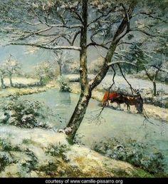 Winter at Montfoucault - Camille Pissarro - www.camille-pissarro.org