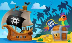 Ship, Parrot & Treasure Chest Cartoon Pirate Wall Mural kids Photo Wallpaper | eBay