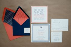 Modern and bright invitation suite by Fourteen-Forty #fourteenforty #navy #persimmon