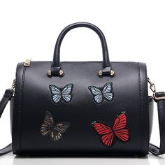 Sale 22% (46.45$) - Women Pu Leather Durable Vintage Style Butterflies Embroidery Handbag Crossbody Bag
