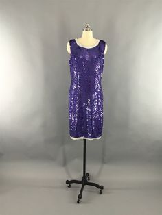 Vintage 1980s Sequin Dress / Beaded Party Dress Party