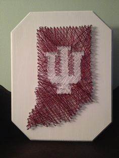 String Artwork 11X14 on wooden board. Indiana University String Art.  Customization available upon request. www.hossley.com