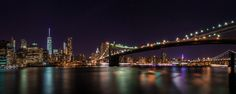 Lower Manhattan and Brooklyn Bridge at Night by David D on 500px