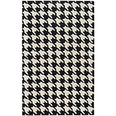Houndstooth rug for our Alabama-themed home office