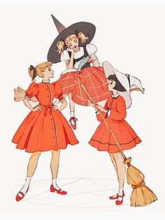 aesthetic drawing 'vintage witches' Sticker by Tasia M S Witch Painting, Witch Drawing, Witch Art, Body Painting, Witch Decor, Vintage Witch Costume, Vintage Witch Photos, Vintage Halloween, Halloween Table