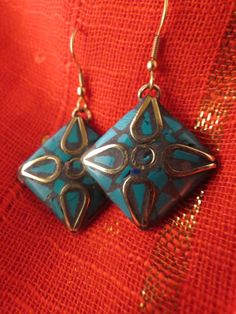 Mosaic Style Earrings: Brass & Turquoise Chips - Great Look. Great Price!