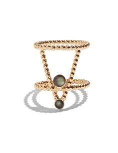 Pinnacle Ring in Gold Vermeil w/ Black Mother of Pearl