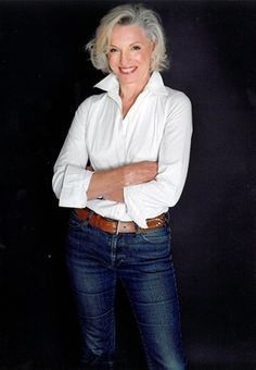 Jeans and a white blouse look as good on a 60-something as on a 20 year old. It's the accessories, hair and makeup that may be different.