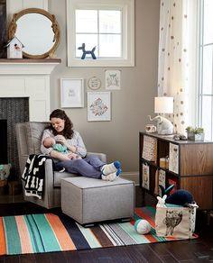"Shop Marguerite Glider, Marguerite Ottoman, 63"" Bronze Dot Curtain, Top Rope Mirror, Fulton Wide Bookcase and more"