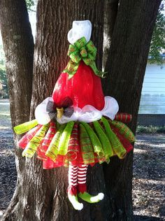 SALE: Extra Large, Whimsical Mrs. Claus Tutu Wreath, Santa Elf Legs & Santa Hat Deco Mesh Wreath Door Hanger Decoration on Etsy, $85.00