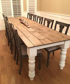 Farmhouse table plans & ideas find and save about dining room tables . See more ideas about Farmhouse kitchen plans, farmhouse table and DIY dining table Farmhouse Table Plans, Farmhouse Dining Room Table, Farmhouse Decor, Dining Rooms, Modern Farmhouse, Vintage Farmhouse, Farmhouse Furniture, Farm Table Plans, Barnwood Dining Table