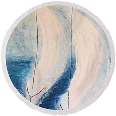 I'm sailing Round Beach Towel by Agota Horvath. The beach towel is in diameter and made from polyester fabric.