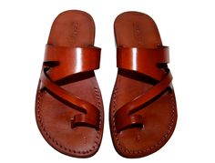 Brązowe skórzane sandały, Zing