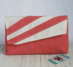 This unique asymmetric clutch bag in fashionable living coral and cream is perfect for summer weddings or garden parties. Occasion Bags, Garden Parties, Romantic Evening, Summer Weddings, Gift For Lover, Card Wallet, My Bags, School Bags, Clutch Bag