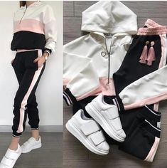 Spring Athleisure outfits 2019 – Just Trendy Girls Moda Outfits, Sport Outfits, Girl Outfits, Classy Outfits, Trendy Outfits, Cute Outfits, Casual Outfits For Girls, Girls Fashion Clothes, Winter Fashion Outfits