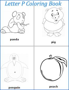 Letter P words coloring pages