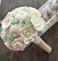 Handmade Natural Wedding Bouquet- Small Ivory Mint Bridal Bridesmaid Bouquet, Rustic Wedding, Alternative Bouquet, Keepsake Bouquet