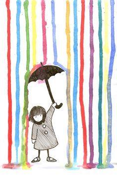 Rain - Spring-related art and illustration. Arte Elemental, Art For Kids, Crafts For Kids, Art Children, Young Children, Classe D'art, Umbrella Art, Art Et Illustration, Spring Art