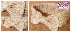 Cintillo de lazo para niña #crochet #ganchillo #beige Realiza tu encargo YA del color que más te guste.