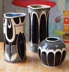 rachel depauw incredible sgraffito work art nouveau motifs pottery ceramics clay by terrie