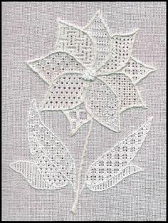 PR0017 Pulled Work Flower PDF available from www.blackworkjourney.co.uk