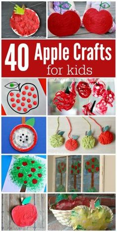 Ultimate list of apple crafts for kids fall back to school round up yarn apple handprint apples painted apples painting with apples mixed media apples tissue paper apples paper plate apples Fall Crafts For Kids, Toddler Crafts, Art For Kids, Kids Crafts, Apple Crafts For Preschoolers, Back To School Crafts For Kids, Art Crafts, Preschool Apple Theme, Fall Preschool