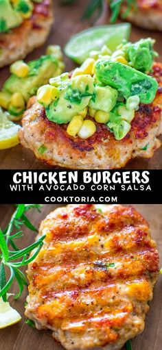 I really love these chicken burgers with avocado corn salsa. They make a quick and delicious dinner and require just a few ingredients and only minute Chicken Burgers Healthy, Ground Chicken Burgers, Chicken Burger Recipe Easy, Avocado Chicken Burger, Avocado Chicken Recipes, Chicken Recipes American, Avocado Corn Salsa, Naan, Hamburgers
