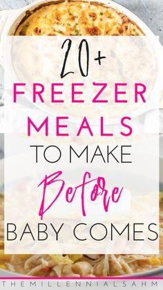 Make Ahead Freezer Meals For Expecting Moms - Meals before baby - Free Make Ahead Freezer Meals, Freezer Cooking, Freezable Meals, Crockpot Freezer Meals, Freezer Meal Recipes, Meals To Freeze, Freezer Desserts, Vegetarian Freezer Meals, Budget Freezer Meals