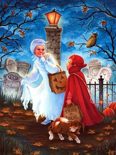 The Shortcut by Lin Howard ~ trick-or-treaters ~ cemetery ~ Halloween Vintage Halloween Cards, Halloween Prints, Halloween Pictures, Spirit Halloween, Holidays Halloween, Scary Halloween, Halloween Themes, Happy Halloween, Halloween Decorations