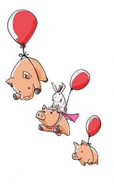 When pigs ( and a bunny) fly! so cute!