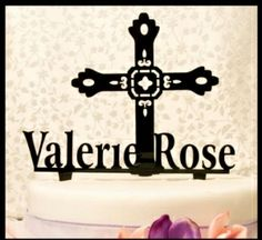 Cross and Name Cake Topper (separate pieces)