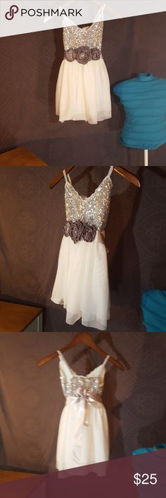 Silver and white formal dress. Silver sequins with a satin bow see-through fabric on the bottom with fluff in a cover-up fabric underneath that beautiful dress silver shiny straps. Ashley Ann Dresses Formal