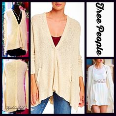 """FREE PEOPLE Cardigan Draped Loose Knit Oversized RETAIL PRICE: $108  NEW WITH TAGS  ***Model photos retrieved from WWW.Nordstrom.com & WWW.Lyst.com  FREE PEOPLE Cardigan Jacket Draped Cardi  * Oversized, drapey,  & relaxed silhouette * Incredibly soft, stretch-to-fit fabric  * Waterfall silhouette & long sleeves.  * About 27-30"""" long, tunic length w/Hi-Lo asymmetrical sharkbite hem * Open Front No Trades ✅Offers Considered*✅ *Please use the blue 'offer' button to submit an offer. Fabric: 84%…"""