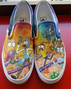 My girlfriend made me a pair of Rick and Morty + Futurama mashup sneakers for…