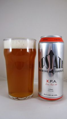 Upstate Brewing X.P.A. (Extra Pale Ale) -- Appearance: Dark copper hue; very cloudy. Pours to an average size, white, frothy head which retains and laces quite well. Smell: Light tropical and stone fruit. Minor notes of grassy hops, too. Taste: Clearly the hops are the star of the show here, and there's quite a lot of them according to the can: Apollo, Bravo, Columbus and Comet. These are under-appreciated varietals and they can do the same job the more popular hops are known for. Up front…